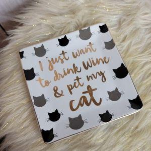 Drink wine pet my cat trinket tray